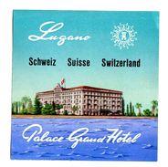 """Etiquette Label Hotel """"Palace Grand Hotel"""", Lugano, Suisse - Etiquettes D'hotels"""