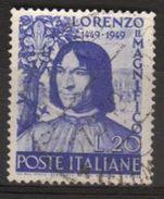 1949 - 5° Centenario Nascita Lorenzo Il Magnifico - Sassone N. 608 - 6. 1946-.. Repubblica