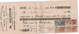 LETTRE DE CHANGE TIMBREE - 1921 - PETRINS MECANIQUES -R. GUITON - GESTE (MAINE ET LOIRE ) - Letras De Cambio