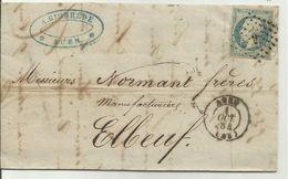 Lettre Agen 1 Octobre 1854 Pour Elbeuf - 1849-1876: Klassieke Periode