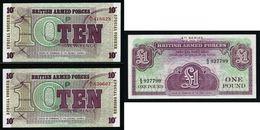GRAN BRETAGNA - Forze Armate - Anni Vari - 3 Banconote  Da 1£ E 10 P. - FDS - Lotto N. 29 - Military Issues