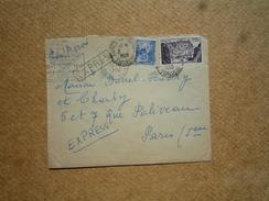 Enveloppe Affranchie Tunisie Par Exprès Pour Paris Oblitération Tunis Roustan 1956 - Tunisie (1956-...)