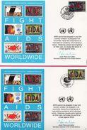 3 Encarts - FDC - Fight Aids Worldwide - Lutte Mondiale Contre Le SIDA  - AIDS - Wien - New York - Genève - 1990 - Health