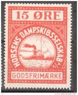 Denmark Local Railway Parcel Post, Horsens Steamship 15 Oere  . MNH.Trains/Railways/Steamship - Trains