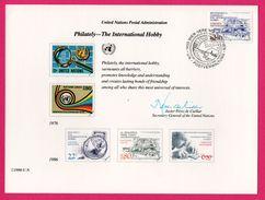 3 Encarts - FDC - Philately The International Hobby - Philatélie - Passe Temps Inter. - Wien New York Genève 1986 - Journée Du Timbre