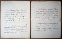 Faire-part Du Mariage De Melle De Virieu & Comte Gaston De Gontaut Biron, Lieutenant Des Hussards, 1888. - Mariage