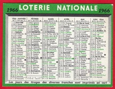 -- LOTERIE NATIONALE -PETIT CALENDRIER 1966 - - Calendriers