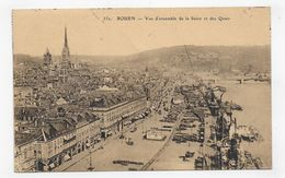 (RECTO / VERSO) ROUEN EN 1925 - N° 350 - VUE D' ENSEMBLE DE LA SEINE - BEAU TIMBRE ET CACHET - CPA VOYAGEE - Rouen