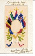 """MILITARIA 14/18 SUPERBE CARTE BRODéE ET GAUFFRéE """"SOUVENIR DU FRONT 1914/1915/1916 (A VOIR) - Embroidered"""
