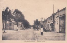 08 - Tagnon : Route De Réthel - Pompe à Essence Aéro - Café - CPSM Ecrite - France