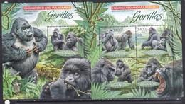Uganda 2012 Fauna Gorillas Monkeys Klb+s/s MNH - Gorilles