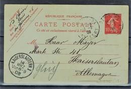 France Entier Postal YT 135-CP1 Paris 13/03/08 Date 648 Arrivée Kaiserslautern 14/03/08 Pliure Voir Scan - Standard Postcards & Stamped On Demand (before 1995)