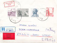EXPRESS REGISTERED RICH FRANKING PS WITH PARTY LABEL RESENT BACK - Postal Stationery