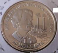 Cook Islands - 50 Dollars - 500 Years Of America 1990 - Samuel Clemens- UNC - Cook