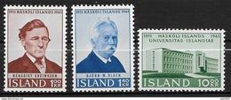 Islande 1961 N° 313/315  Neufs ** MNH Université - 1944-... Republik