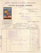"""ALPES MARITIMES - NICE - ENTÊTE """" FEMME """"- PÂTES ALIMENTAIRES MACARONIS - CERES MEUNIER FRERES - FACTURE + MANDAT 1929 - Alimentaire"""