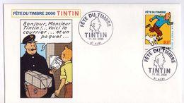 FDC Fête Du Timbre 2000 Tintin Oblitération Albi (Tarn) Bande Dessinée Hergé - Giornata Del Francobollo