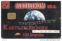 ALBANIA - Internet, Albtelecom Telecard 100 Units, 09/00, Used - Albania
