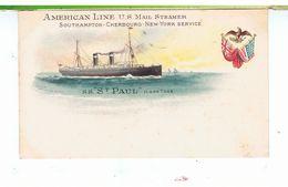 CPA-BATEAUX-VERS 1900-AMERICAN LINE U.S MAIL STEAMER-SOUTHAMPTON-CHERBOURG-NEW-YORK SERVICE-S.S St.PAUL 11 600 TONNEAUX- - Steamers