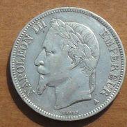 1867 - France - 5 FRANCS, NAPOLEON III, (A), Tête Laurée, Argent, Silver, KM 799.1, Gad 739 - France