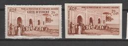 COTE D'IVOIRE N° PA 7 2F + 6 BRUN OEUVRE DE PROTECTION DE L 'ENFANCE  INDIGENE TPS NORMAL + NON DENTELE** - Costa D'Avorio (1892-1944)