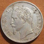 1870 - France - 5 FRANCS, NAPOLEON III, (BB), Tête Laurée, Argent, Silver - KM 799.2 - Gad 739 - J. 5 Francs
