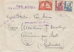 Enveloppe ( 17 Cm X 12 Cm ) Postée De PALMA DE MALLORCA  à Destination De La France Via L'Italie ( Censure Militaire ) - Poste Aérienne