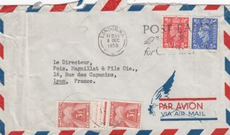 GREAT BRITAIN - ENGLAND - LETTRE TAXEE 2X3F LONDON 8.12.1950 TO LYON FRANCE /2 - 1902-1951 (Reyes)