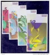 "4 Test Notes  ""WINCOR NIXDORF"" 4 Testnoten, 5-10-20-50 EURO,, Beids. Druck, RRR, UNC, Euro Size. - EURO"