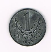 )  BOHEMIA & MORAVIA  1 KORUNA  1942 - Tchécoslovaquie