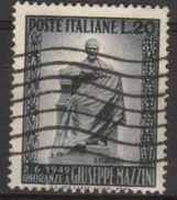 1949 - Inaugurazione Del Monumento A Mazzini - Sassone N.604 - 6. 1946-.. Repubblica
