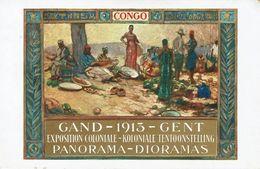 GENT-GAND-1913-CONGO-EXPOSITION COLONIALE-MARCHE CONGOLAIS-KOLONIALE TENTOONSTELLING-illustrateur - Gent