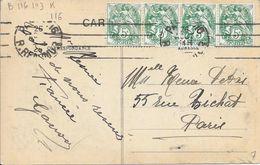 SEINE 75 -  PARIS 116  -  FLAMME N° B 116 103 K - 4 LD   - 1926 TIMBRE N° 111 II  BANDE DE 4  AU TARIF - - Postmark Collection (Covers)