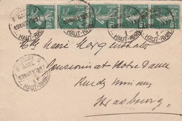 France Alsace Lettre De Mulhouse Gare 1927 - Postmark Collection (Covers)