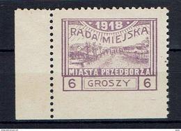 PRZEDBORZ - Poste Locale Fischer N° 9 Valeur Grosse Dentelée 10 - Variété Défaut De Piquage - 1918 - ....-1919 Provisional Government