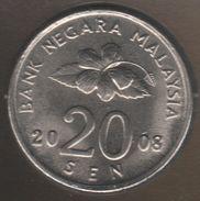 Malaysia 20 SEN 2008 KM# 52 - Malaysie