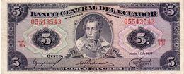 Ecuador P.108 5 Sucres 1975 Xf - Ecuador