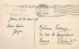 PIE 17-P Mo-4762 :  CARTE POSTALE  RIVIERA DI LEVANTE  VUE STEREOSCOPIQUE  CACHET RISTORO PRO PATRIA GENOVA 1918 - Other