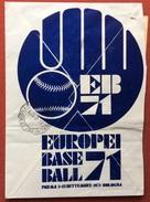 BASEBALL  EUROPEI BASEBALL 71 BUSTA DELLA FEDERAZIONE ITALIANA RACC. CON TARGHETTA ROSSA ROMA A.D. 06026 CONI L. 0330 - Baseball