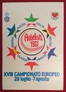 BASEBALL  XVIII CAMPIONATO EUROPEO CARTOLINA N.187 ANNULLO DI GROSSETO SU L. 200 CASTELLI BOBINE ISOLATO 1/6/83 - Baseball