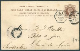 1883 GB Stationery Postcard Mayer & Co, Thavies Inn, London - Chaux De Fonds, Switzerland. 'TOO LATE' - 1840-1901 (Victoria)
