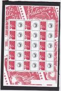 "FEUILLET De 15 TIMBRES MARIANNE Du 14 JUILLET ROUGE  N° 3417a  (GOMME BLANCHE) AVEC VIGNETTE ""CERES"" - Gepersonaliseerde Postzegels"