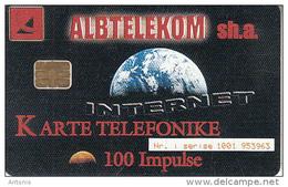 ALBANIA - Internet, Albtelecom Telecard 100 Units, 06/00, Used - Albania