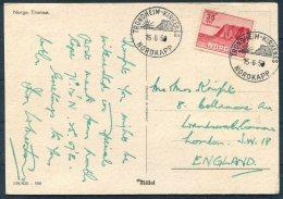 Norway Tromso Postcard. Trondheim - Kirkenes Nordkapp 35 Ore - London SW18 - Norway