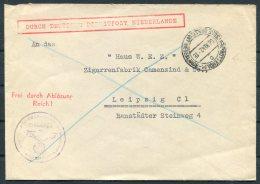 1942 Netherlands 'Durch Deutsches Dienstpost Niederlande' DDP Rotterdam Reichskommissar Cover - Leipzig, Germany - Period 1891-1948 (Wilhelmina)