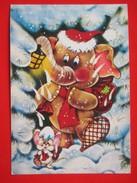 H4-Postcard-Elephant Santa Claus ,Recommended Postcard - Santa Claus