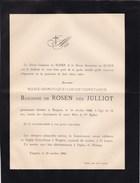 TONGRES PIRANGE Marie-Dominique JULLIOT Baronne De ROSEN 64 Ans 1886 Doodsbrief - Décès