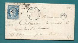 Corrèze - Neuvic D'Ussel Pour Verrieres Les Buissons Par Antony. GC + CàD Type 16.1872. Origine Rurale De St Etienne - Marcofilie (Brieven)