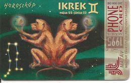 CARTE PUCE-1995-HONGRIE-GEM1-ZODIAQUE-GEMEAUX-UTILISE-BE - Dierenriem