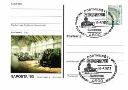 Germany 1993 Postal Stationery Card Stamps Exhibition Naposta Cancellation 19-May-1993 Dortmund, Illustr. Zeche Zollern - [7] République Fédérale